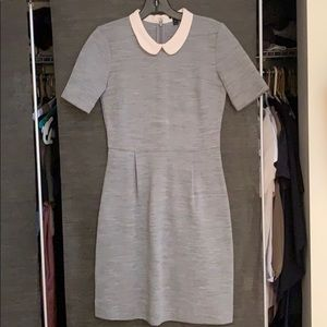 Silk collar grey fit and flare dress